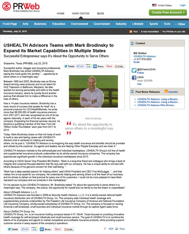 USHEALTH PRWeb Release